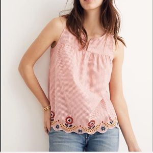 Madewell Embroidered Tank Top Hem embroidery